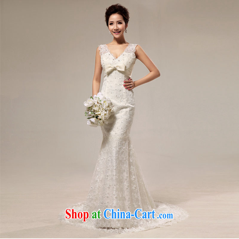 Optimize Hung-New, Old fashioned sense V lace beauty crowsfoot tail bridal wedding XS 8191 m White XXL