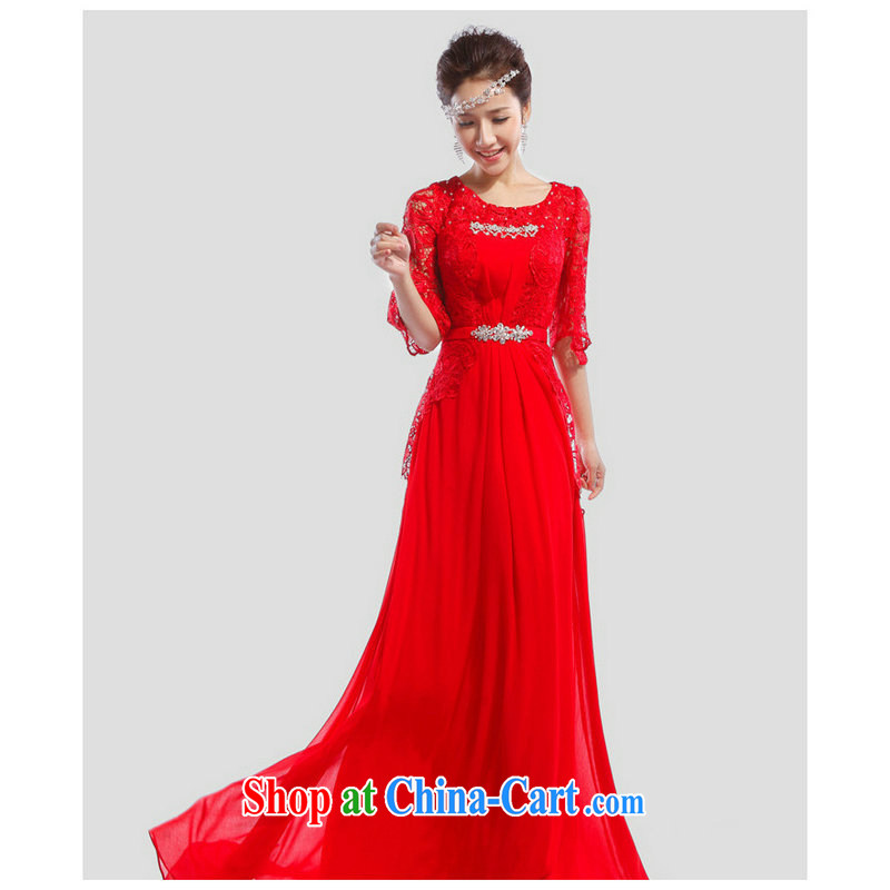 Taiwan's population 2014 new bride's shoulders lace sweet 7 cents cuff us long evening dress XSm 01 big red XL