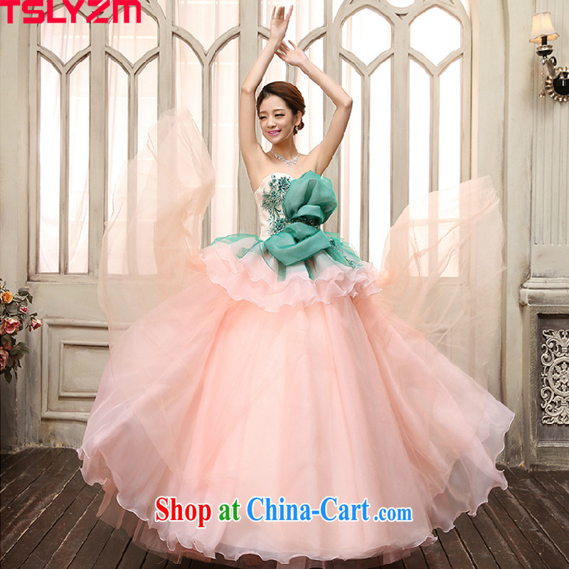 2015 Tslyzm new sense of bare chest shaggy dress bridal pink tie with sweet flowers wedding wedding photo building theme personal photo album clothing pink L