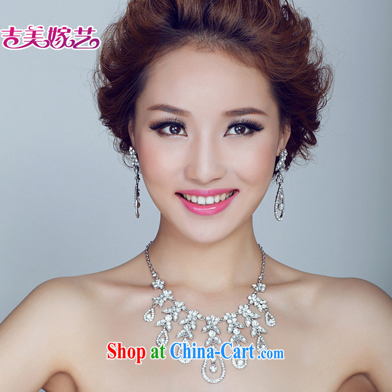 Bridal wedding dresses Accessories Kit Korean set link TL 130 water drilling jewelry 2015 new marriage necklace gold ear clip