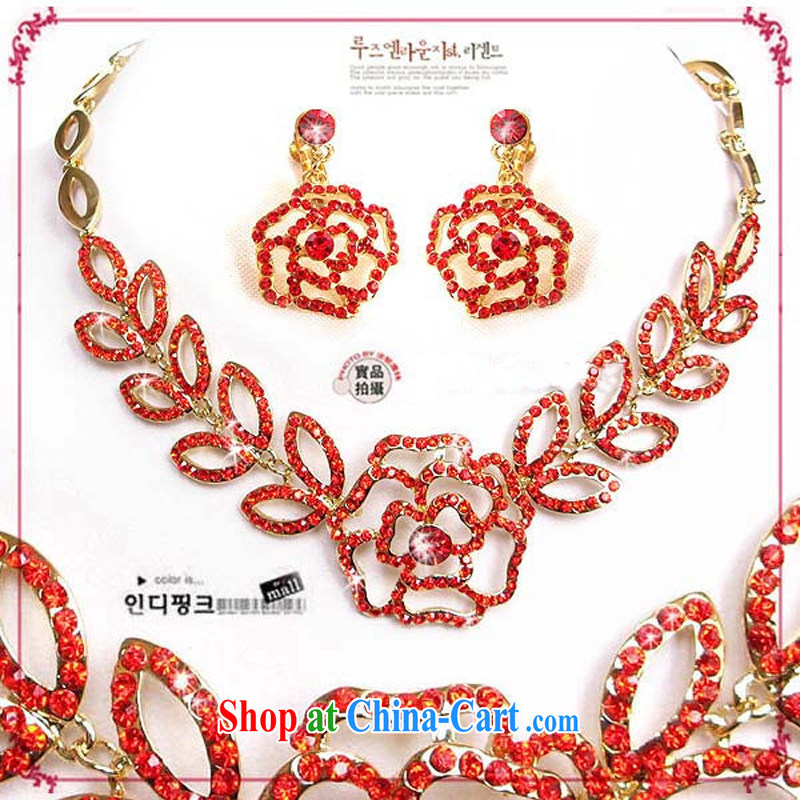 Bridal wedding dresses Accessories Kit Korean set link TL 132 water drilling jewelry 2015 new marriage necklace red ear clip