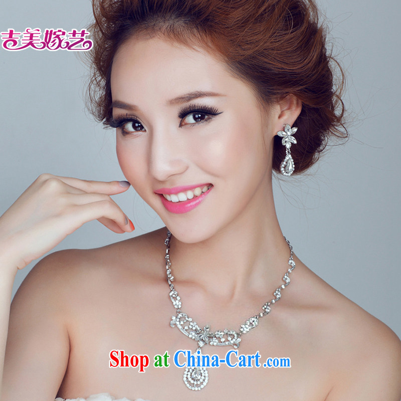 Bridal wedding dresses Accessories Kit Korean set link TL 156 water drilling jewelry 2015 new marriage necklace gold ear clip