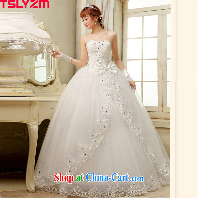 Mary Magdalene Tslyzm chest wedding dresses 2015 spring and summer new marriages lace, Japan, and South Korea bowtie Korean style with shaggy dress white L