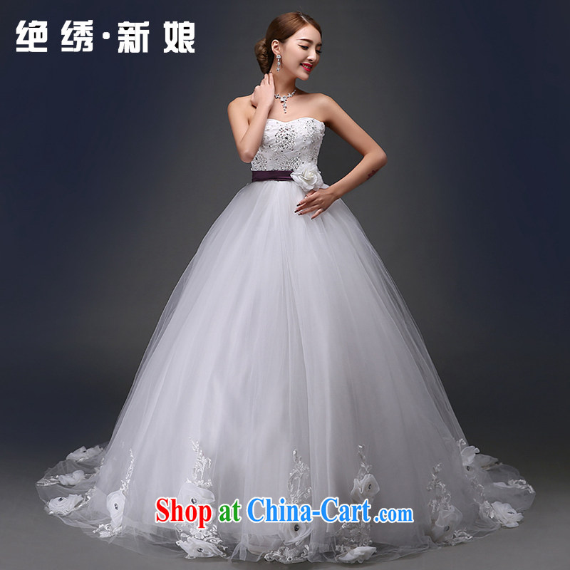 There is a bride Korean-style retro Deluxe Big-tail flowers wood drill wiped chest lace Princess wedding dresses white XXXL Suzhou shipping