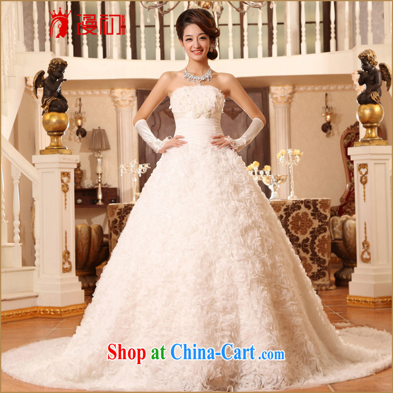 Early definition 2015 new bride wedding long-tail Korean lace the tail Deluxe tail wedding dresses white M code