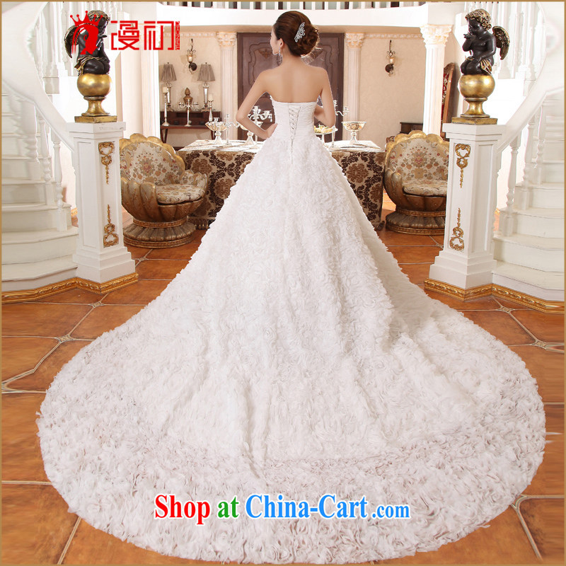 Early definition 2015 new bride's wedding long-tail Korean version lace-the-tail Deluxe tail wedding dresses white M codes, early definition, shopping on the Internet