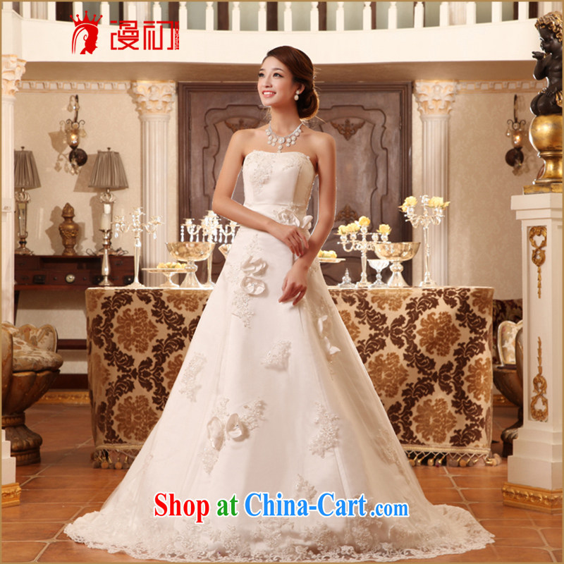 Early definition 2015 new wedding wiped off chest small drag and drop the bride's wedding and elegant and stylish spring and summer wedding white L code tie-down,