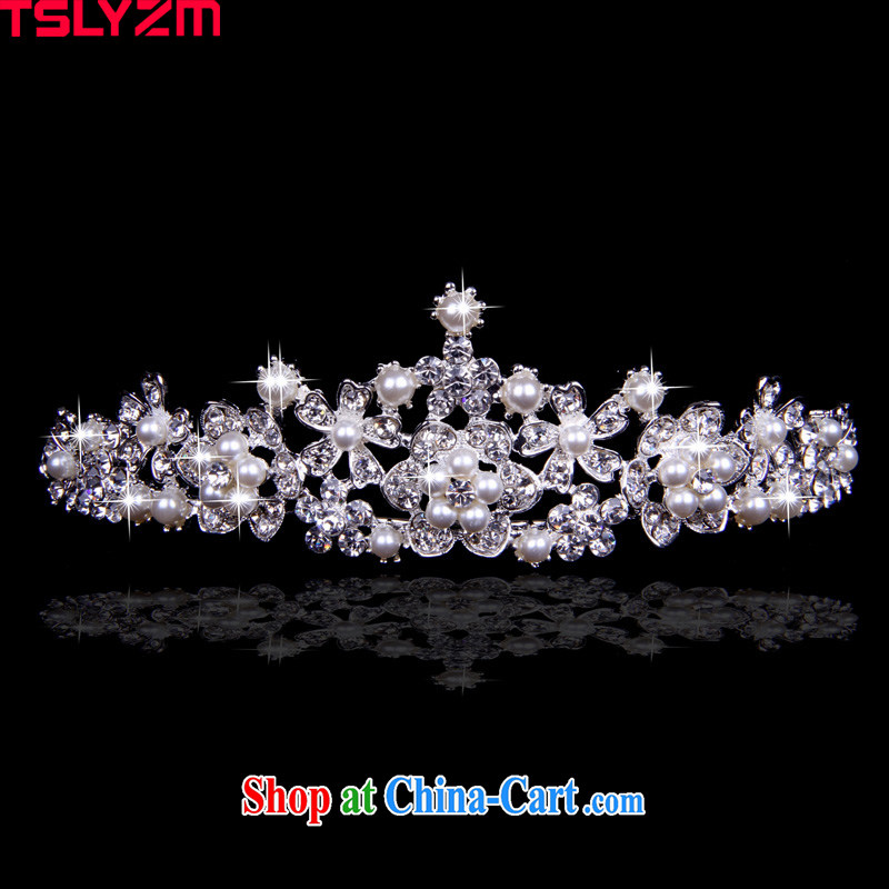Tslyzm bridal wedding headdress married Korean-style furnishings pearl necklaces and jewelry Princess water drill large crown Lotus HG 022