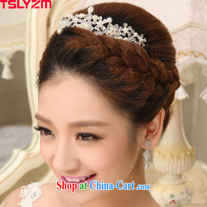 Tslyzm Crown headdress bridal Korean-style jewelry Pearl flowers marriage wedding wedding costume dramas is the hair accessories