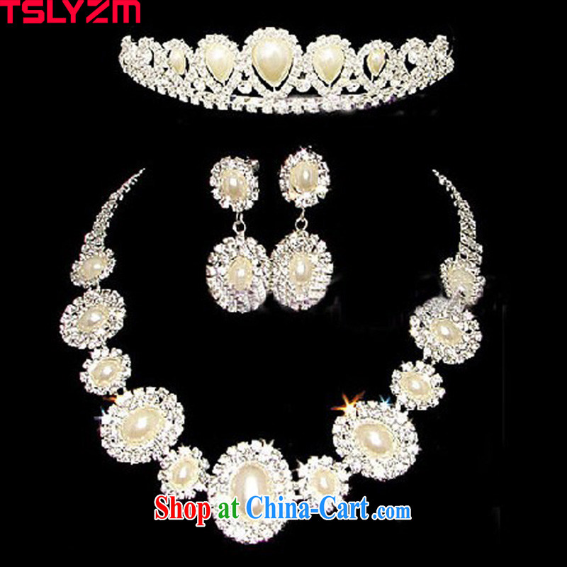 Tslyzm bridal jewelry wedding accessories kit link Crown marriage and trim 3 piece wedding photo building Korean Kit necklace jewelry set link 9