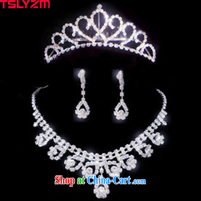 Tslyzm bridal jewelry 3-piece set necklace earrings Crown head-dress wedding dress jewelry wedding dresses accessories kit link 2