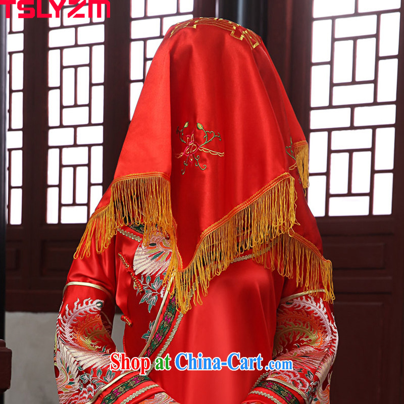 Angel, Mrs Carrie Yau, bride in accordance with red lid-soo Wo service Phoenix and accessories fine embroidery wedding celebration red shawl red lid cover head
