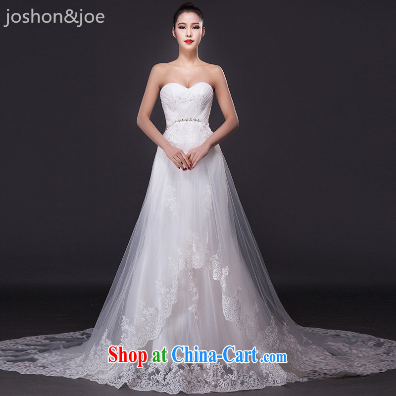 joshon &Joe wiped his chest wedding dresses retro-tail Korean petal hem Mary Magdalene pregnant women breast high waist bridal home yarn white XL