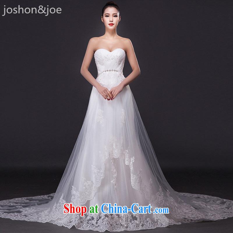 joshon _Joe wiped his chest wedding dresses retro-tail Korean petal hem Mary Magdalene pregnant women breast high waist bridal home yarn white XL