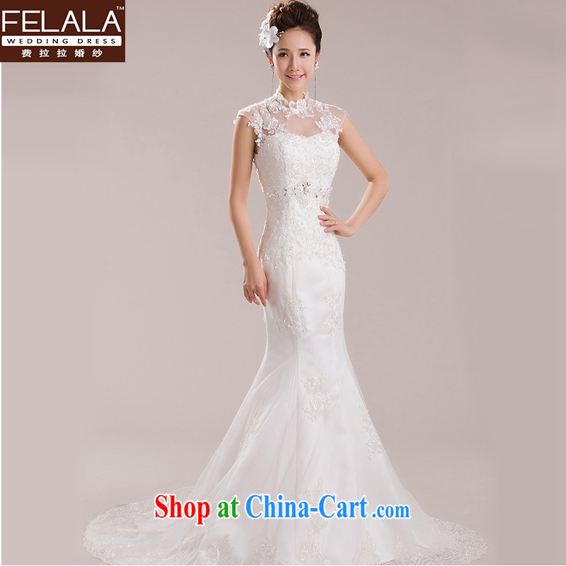 Ferrara 2015 new wedding retro, for lace-a Field shoulder shoulder crowsfoot small tail spring the code white XL Suzhou shipping