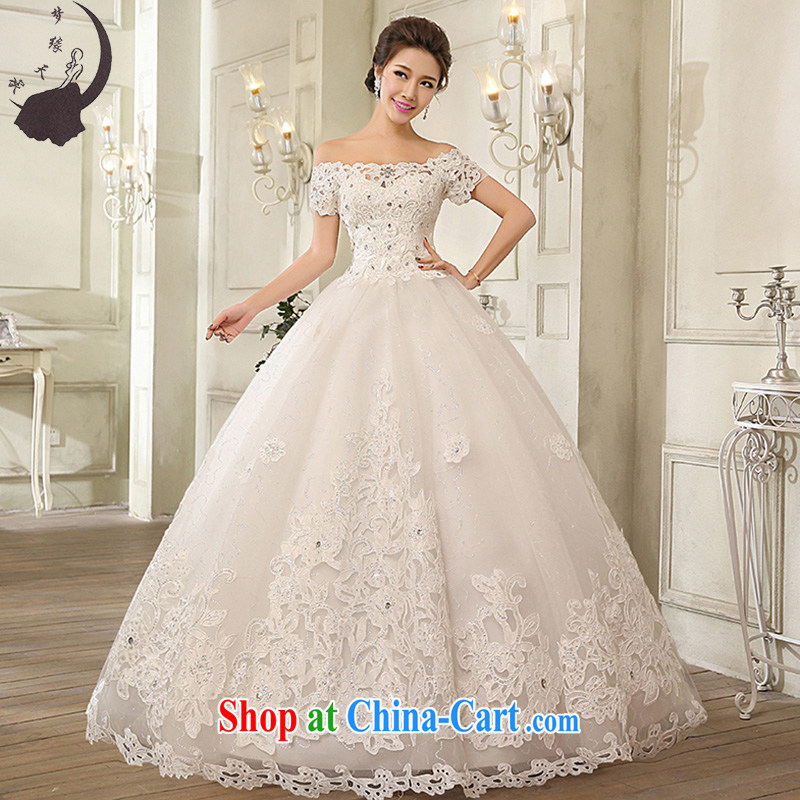 Dream of the day a Field shoulder wedding dresses 2015 Korean-style lace with stylish wedding dress H 1616 white L 2.1 feet waist