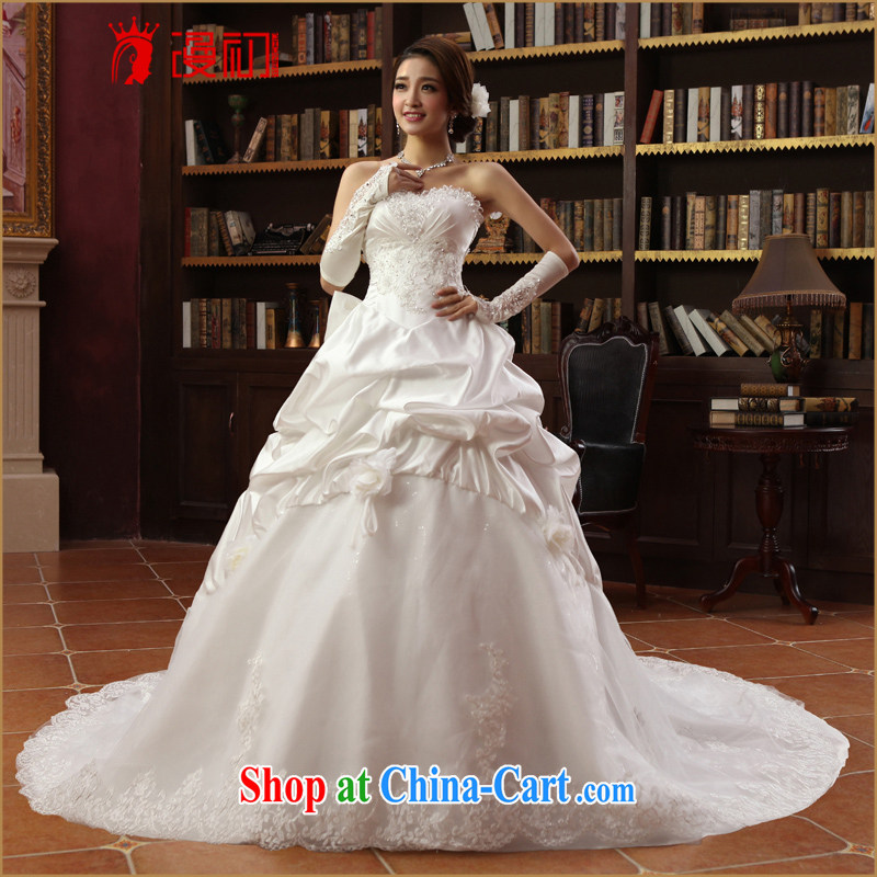 Early definition wedding dresses 2015 New Deluxe tail Korean wedding chest bare long-tail manually flowers wedding white L, spread, early, and shopping on the Internet