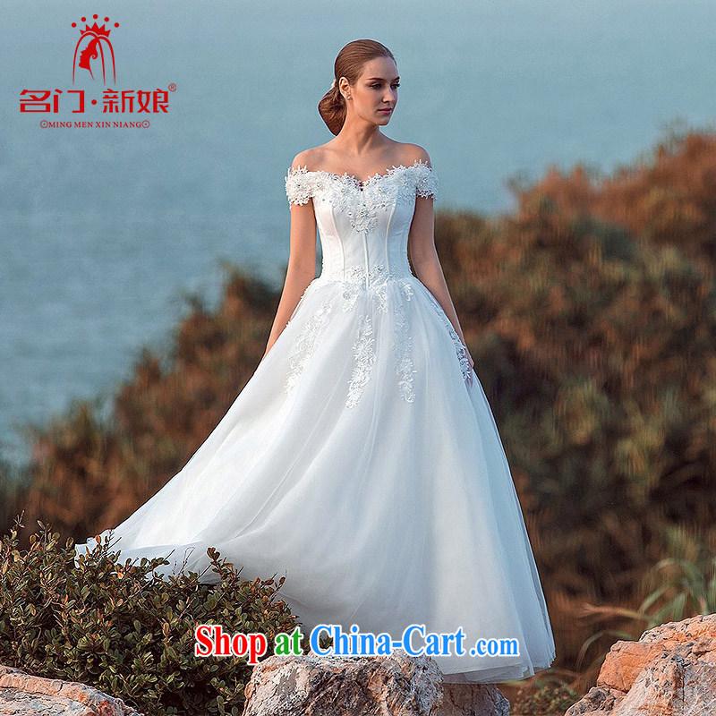 The bride's wedding dresses 2015 brides field shoulder lace Wedding Video thin Princess skirt swing A L 514