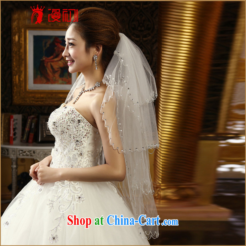 Early animated PRINCESS AND LEGAL Korean sweet bridal head yarn 2015 New Layer 4 staples Pearl lace and yarn white 80 - 100 CM
