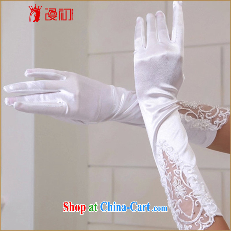 Animated bride early in the gloves 2015 new white wedding dresses with lace full refers to bridal gloves white