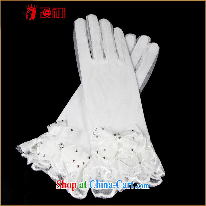 Early definition 2015 new bridal gloves white short wedding gloves wedding accessories bow tie decorated in white