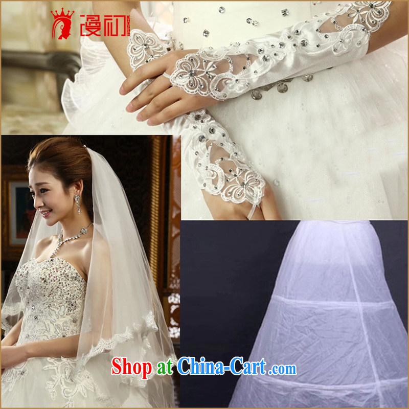 Early definition 2015 new hot bridal wedding accessories skirt stays gloves and yarn 3 piece set