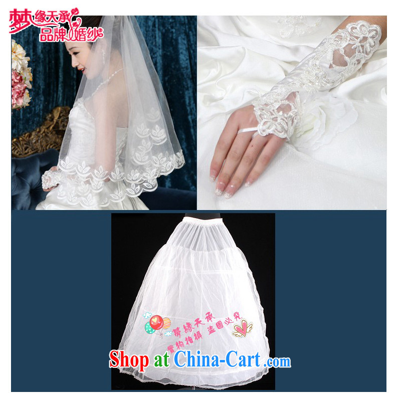 Dream of the day wedding dresses accessories exclusive wedding dresses Korean head yarn gloves skirt spreader wedding 3 piece 9 JT white