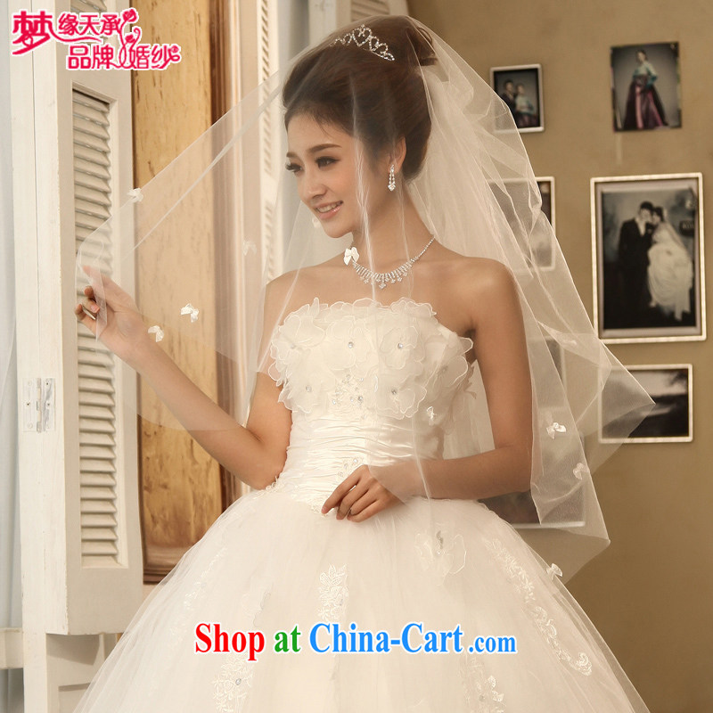 Dream of the day wedding dresses accessories Korean marriages and yarn flowers and yarn single layer white head yarn TS 007 white