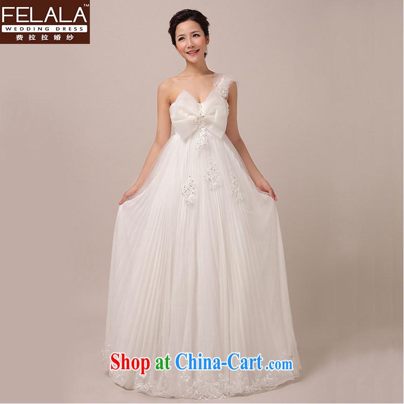 Ferrara 2015 new single shoulder bow-tie lace pregnant bride Korean marriage wedding with shaggy skirts white XL Suzhou shipping