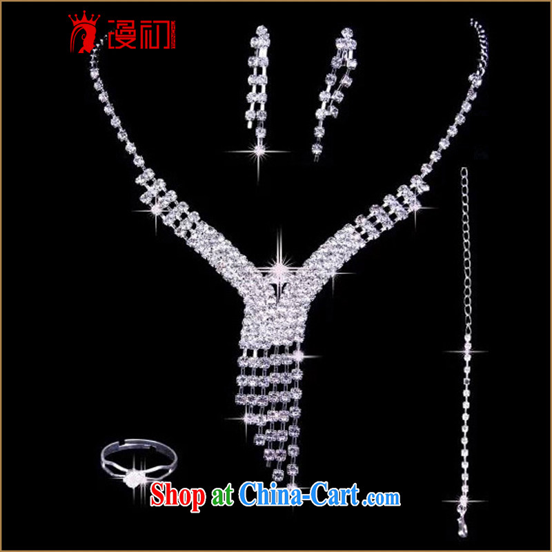 Early definition 2015 New Water diamond necklace earrings rings bracelets 4 piece bridal jewelry wedding accessories