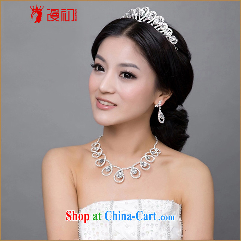 Early definition 2015 new marriage accessories bridal jewelry set water drilling Crown necklace earrings