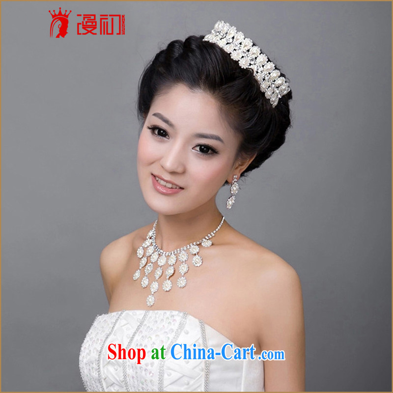 Early definition bridal jewelry Korean wedding accessories water drill Pearl Crown necklace earrings set marriage jewelry