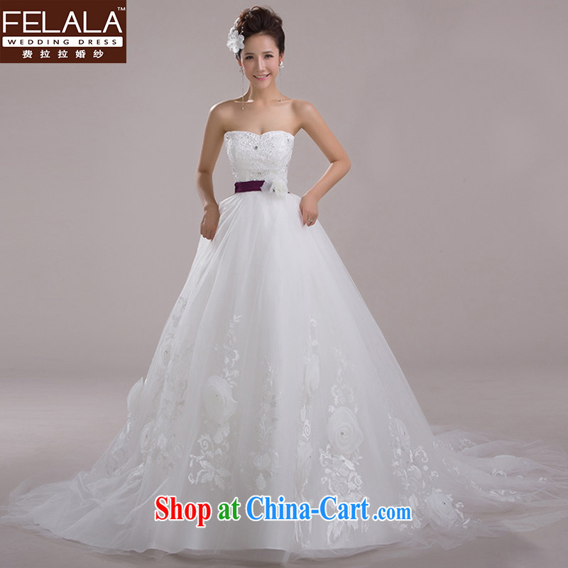 Ferrara 2015 new erase chest marriages wedding Korean Princess flowers shaggy yarn large-tail large code white XL Suzhou shipping