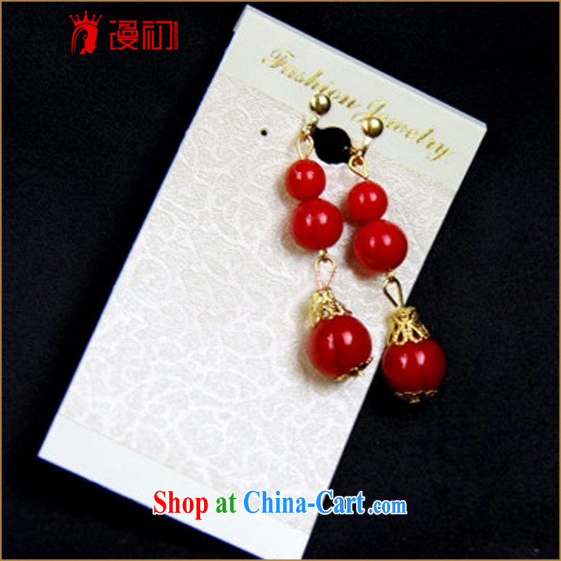Definition 2015 early modern cheongsam dress accessories Chinese brides red earrings ear clip ornaments red