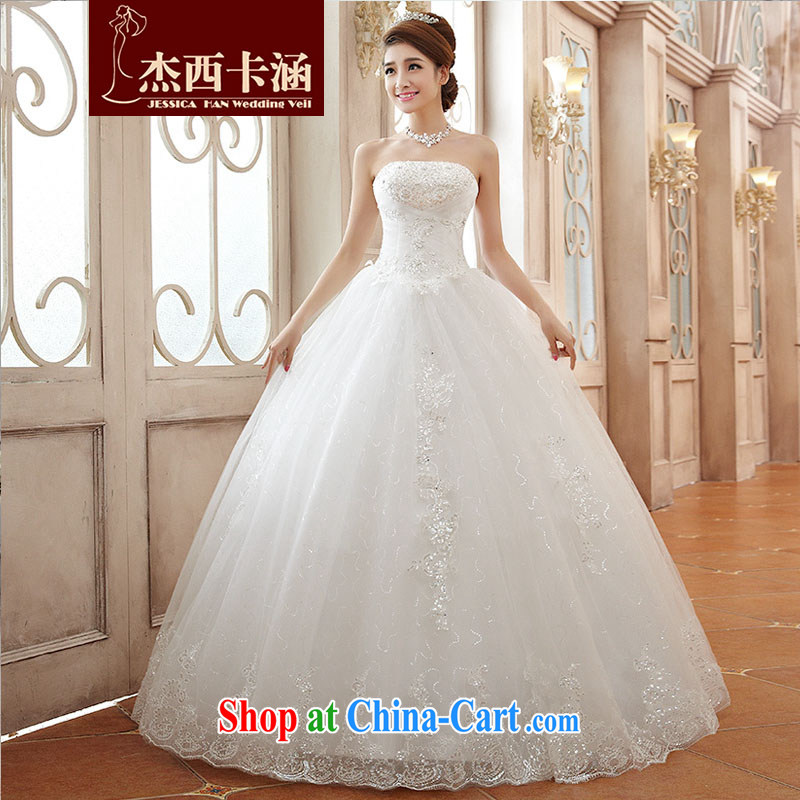 Jessica covers wedding dresses summer 2014 new stylish Korean wiped his chest and lace larger female hunsha 2107 m White XL
