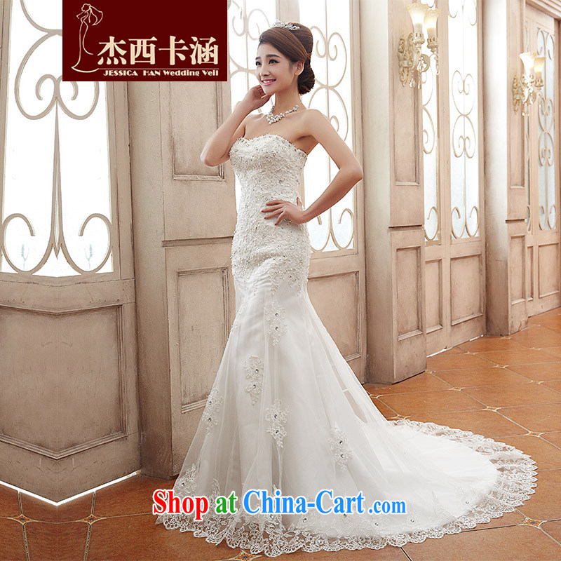 Jessica covers wedding dresses 2014 new stylish and wipe the chest, small tail bridal crowsfoot female marriages 2108 m White XL