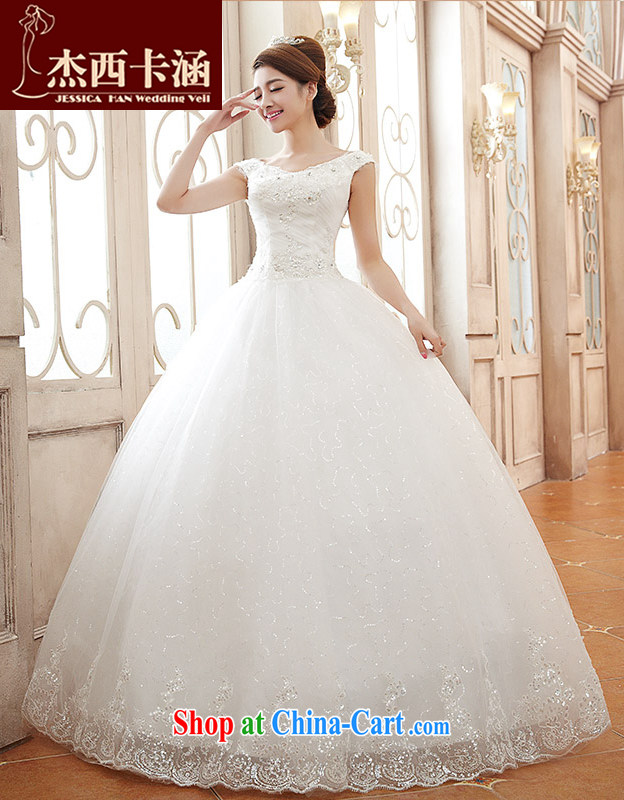 Jessica covers wedding dresses 2014 new Korean Deep V collar double-shoulder alignment to the Code field shoulder marriages wedding 2128 m White XL