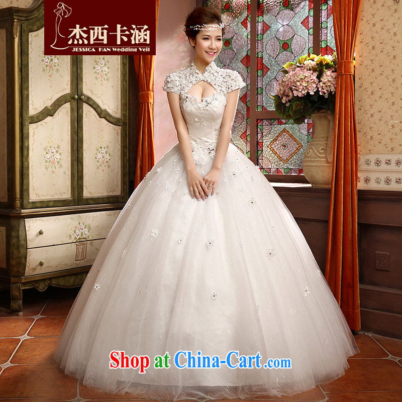 Jessica covers marriages wedding dresses new 2014 modern Korean field shoulder retro lace inserts drill hunsha 2116 white M