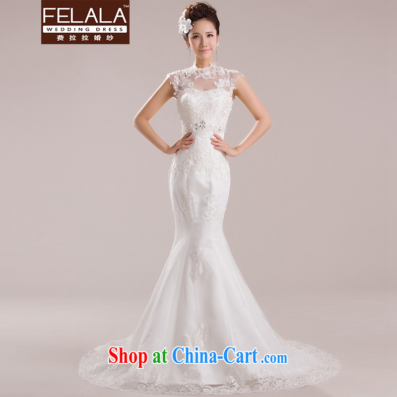 Ferrara 2015 new wedding retro the collar lace-a Field shoulder shoulder crowsfoot small tail spring large, white will do not return