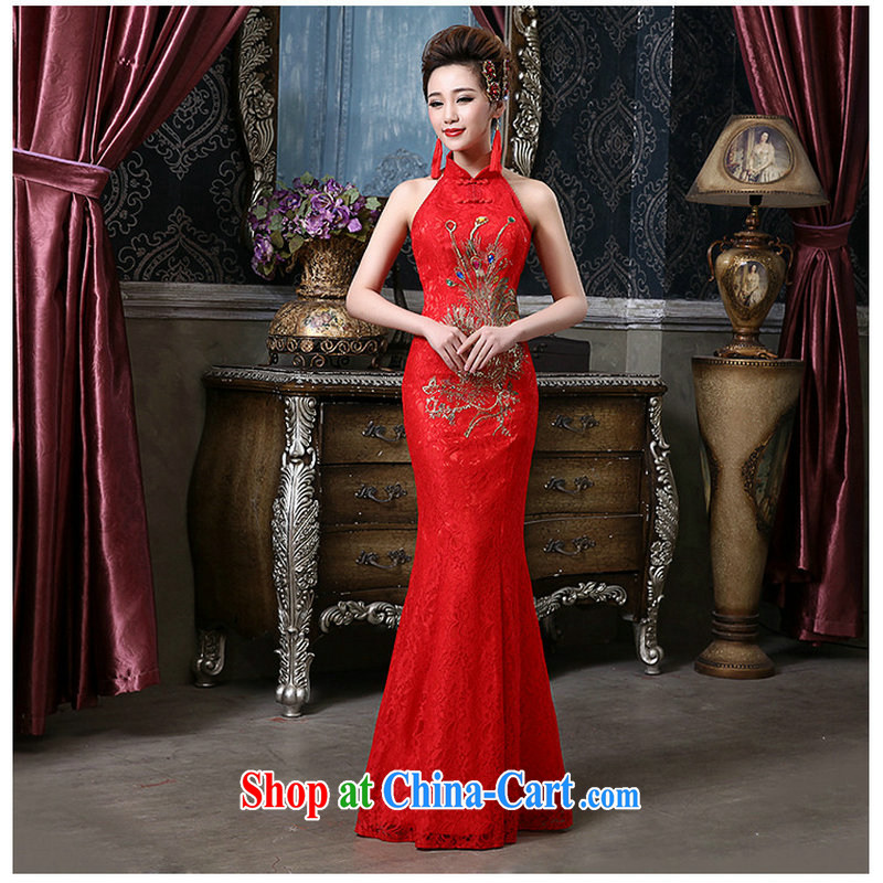 There is a red bride is also exposed back lace Phoenix crowsfoot cheongsam QQC 1004 big red XXL