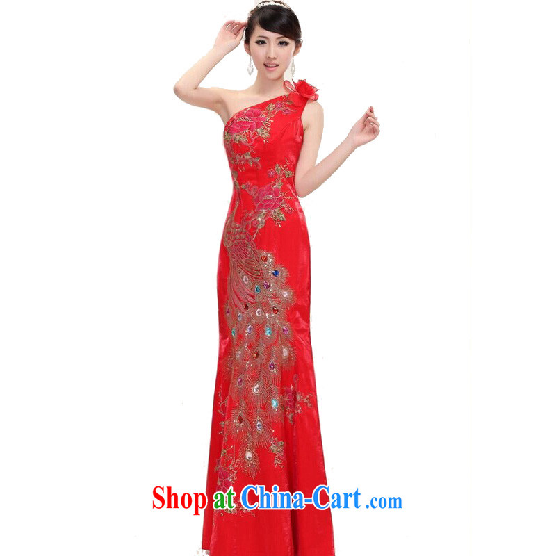 The female 2014 bridal wedding dresses and stylish Chinese improved crowsfoot cheongsam dress single shoulder marriage toast flag red XXL
