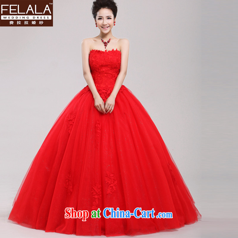 Ferrara 2013 New Red very wang wedding simple lace bare chest shaggy winter skirt the Code Red will do not return
