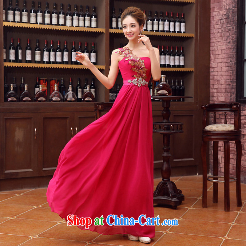 It is also optimized condolence new stylish light single shoulder Evening Dress bridal dress Korean-style toast XS served by 1066 red XXL
