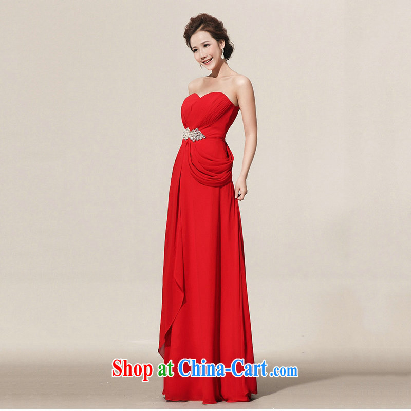 There are optimized color Kingfisher Red video thin dress bridal long gown toasting service banquet service XS 1067 red XXXL