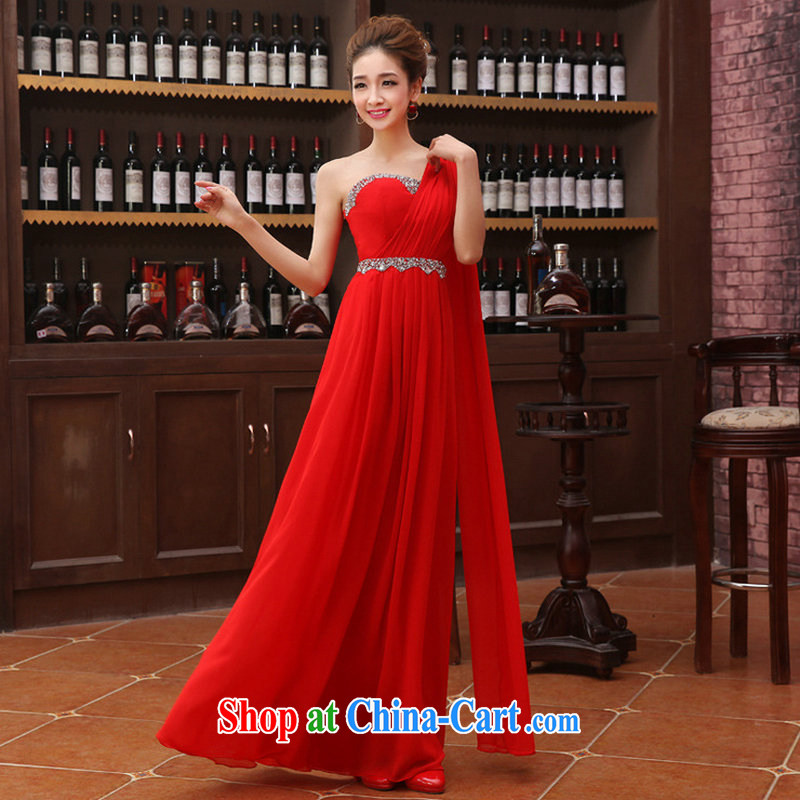 It is also optimized condolence new Korean flash drill a shoulder dress uniform toast high snow woven dress XS 1068 red XXL