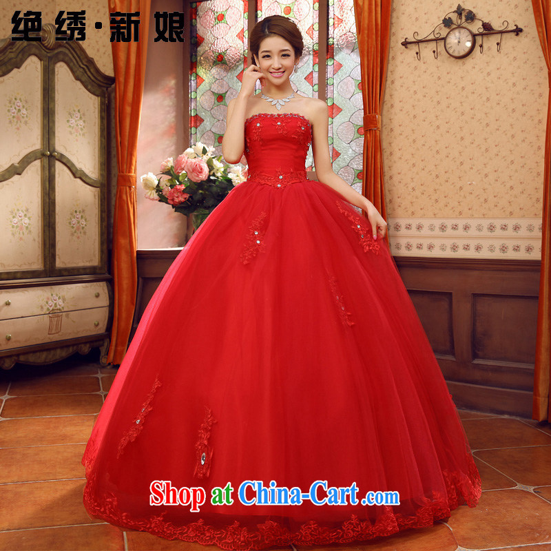 There is embroidery bridal lace bare chest Korean bridal wedding dresses 2015 new spring and summer tie bowtie red XXXL Suzhou shipping