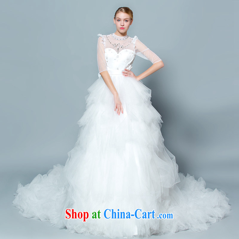 A yarn winter wedding wood drill shaggy skirts three-dimensional flowers 5 cuff long-tail wedding 30150864 white XXL code 20 days pre-sale