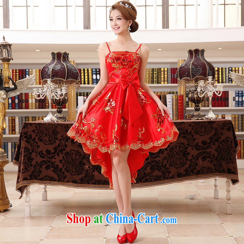 Mrs Alexa Lam growl 2014 new marriage wedding dresses bridal Toast before serving short long small tail 14,861 red S (2.0 feet)