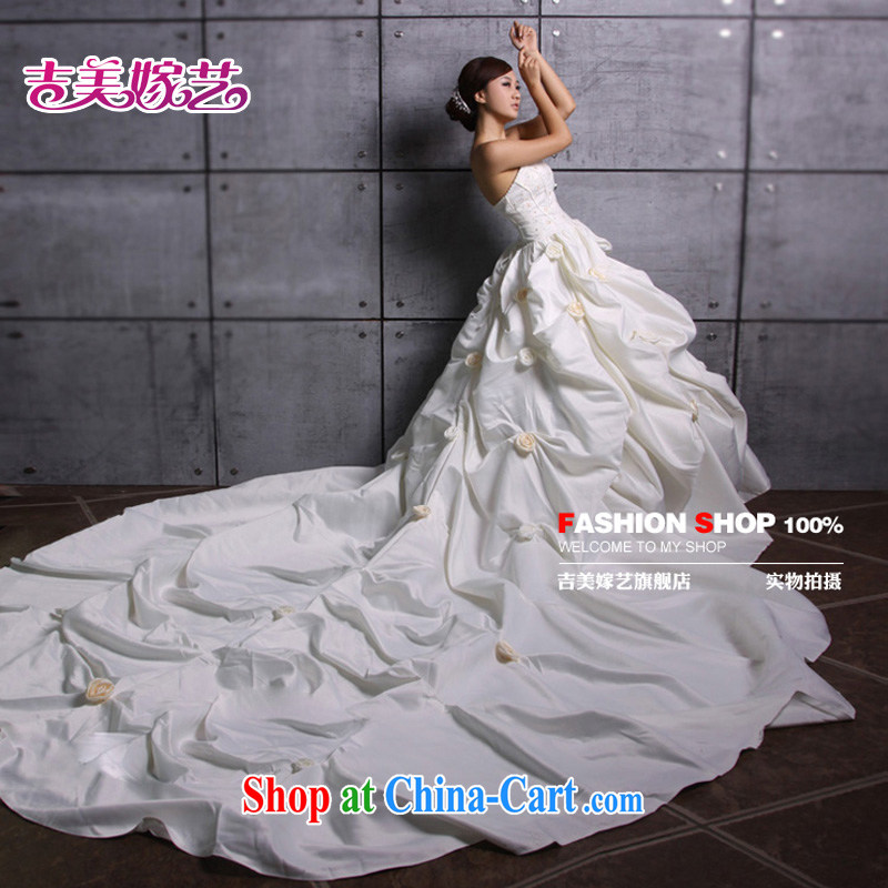 Korean version of the new ultra-extreme luxury tail wedding 2M tail bridal wedding dresses HT 026 bridal wedding ivory L