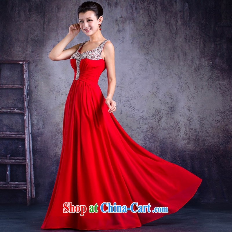 Mrs Alexa Lam unpunished new 2014 Evening Dress double-shoulder strap with long, bridal wedding dress 33,262 red M _waist 2.2_